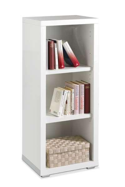 Bücherregal SILKE 3, Weiß Melamin, Weiß Hochglanz