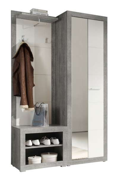 Garderobe B 120 x H 194 cm, Weiß Hochglanz, Beton, mit Spiegel