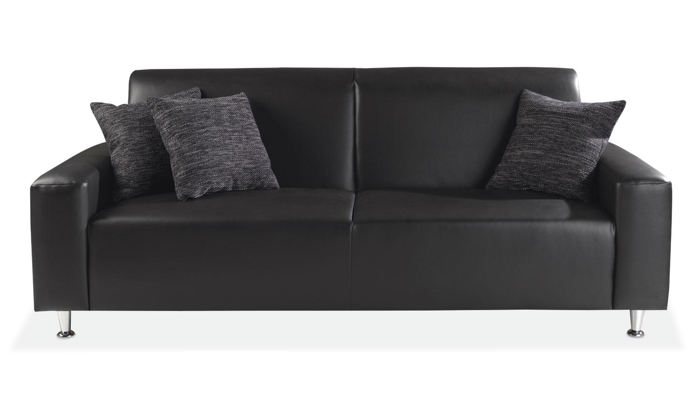 Sofa EDNA 3, Schwarz Kunstleder