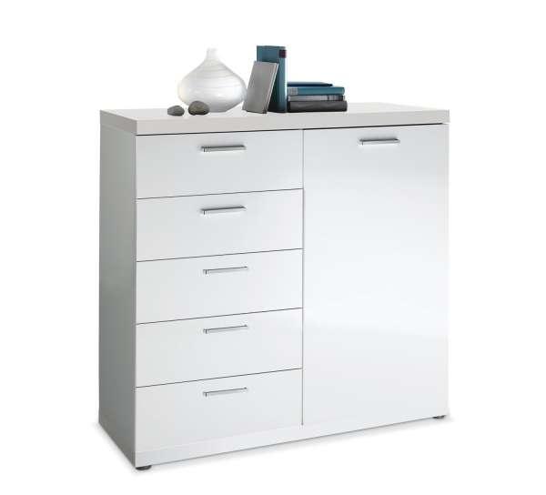 Kommode ALBERTO 3, weiß hochglanz, 115x106x40 cm