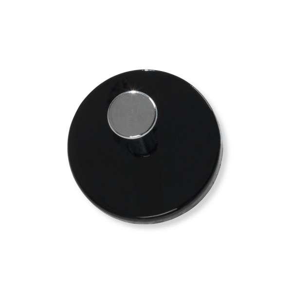 Garderobenknopf MEIKE 1, Schwarz Hochglanz, chrom-nickelfarbig, Ø 7 cm