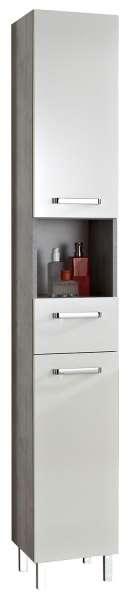 Schrank, Badschrank Weiß Glanz, 2 Türen, 1 Schubkasten