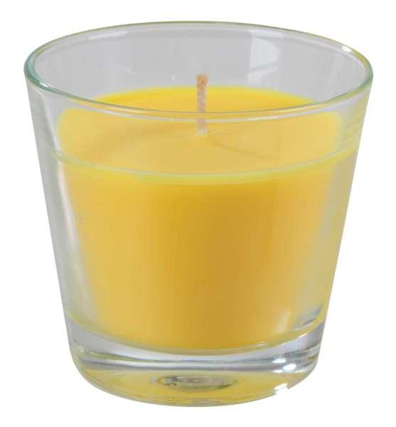 Kerze Duftkerze Kerzenglas SANGO 11, Frangipani, Glas ca. Ø 8 x H 9 cm