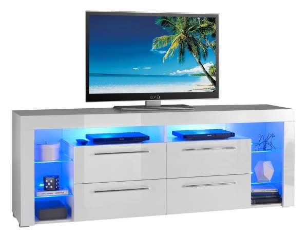 TV-Lowboard Fernsehtisch, Weiß Hochglanz, mit Beleuchtung