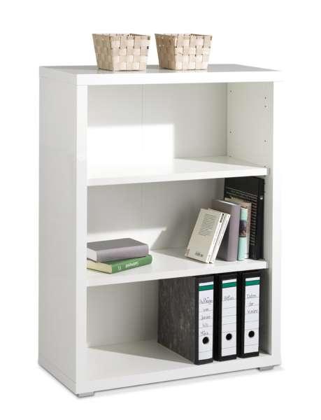 Bücherregal SILKE 1, Weiß Melamin, Weiß Hochglanz