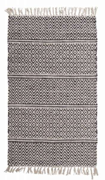 Teppich IKAT, Baumwolle, Grau, handgewebt, (BxL) 120x180 cm