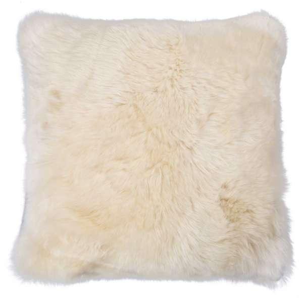 Kissenhülle Kissenbezug, 50x50 cm, Creme, echtes Schaffell