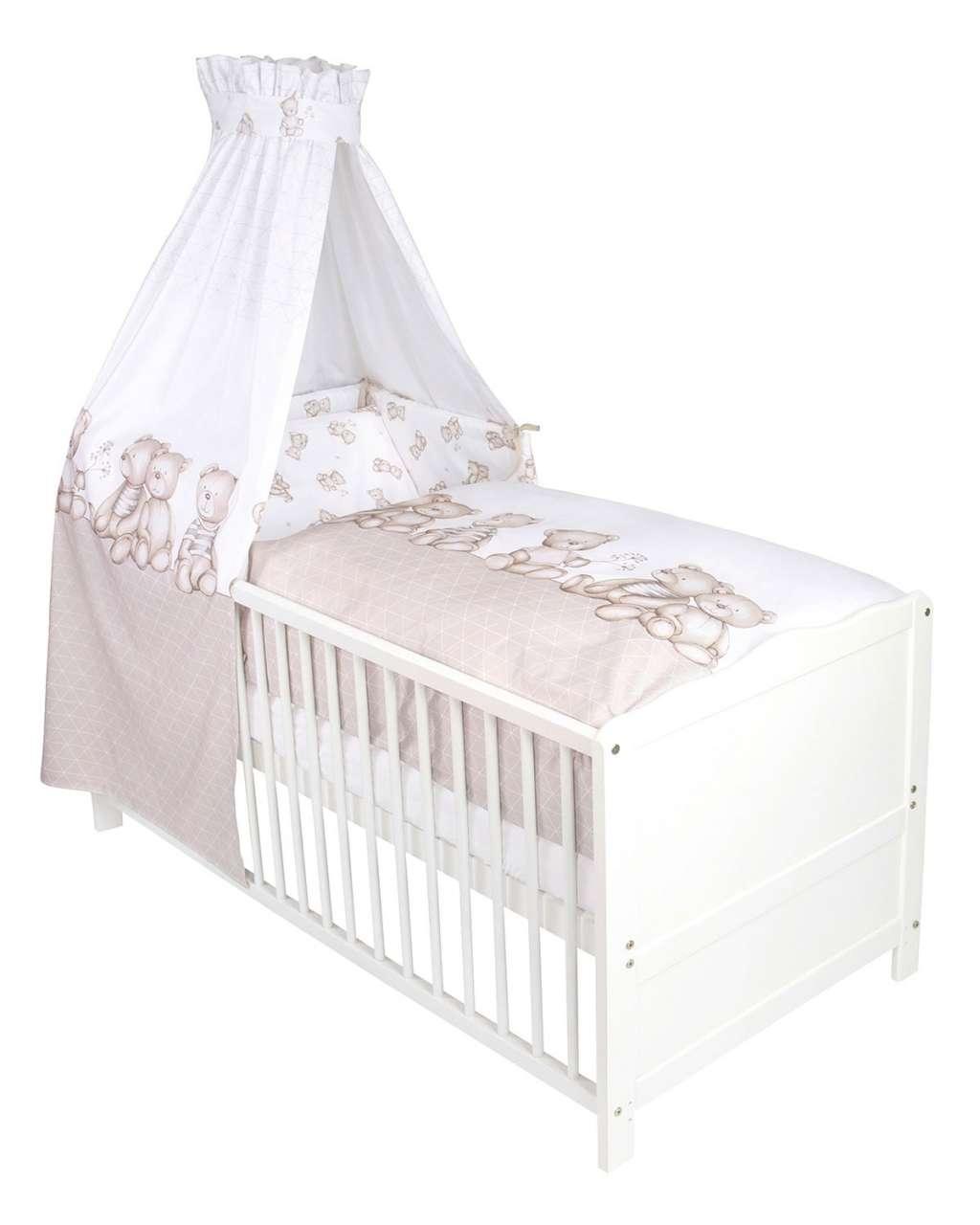 moebel-jack.de Baby-Betten-Set 3-tlg. BÄRENLAND 1, 100x135 cm, Taupe, mit Himmel