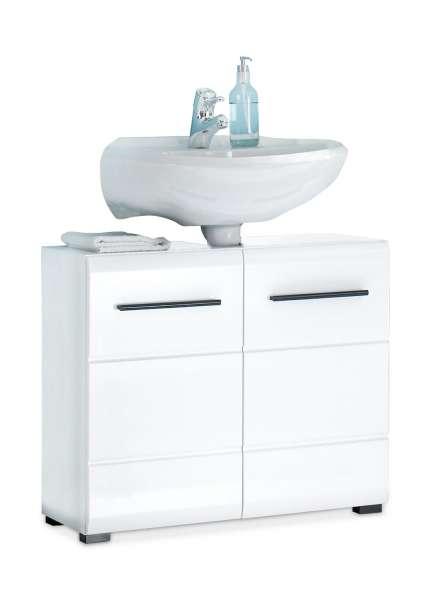 Waschbeckenunterschrank FLEMMING 1, Schwarz,  Weiß Hochglanz