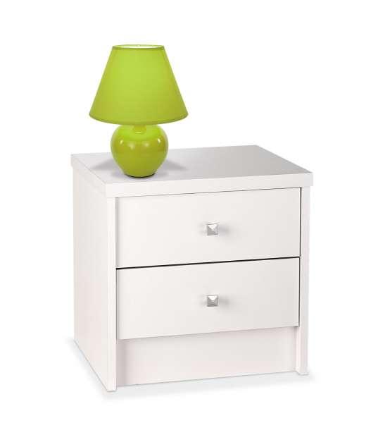 Nachttisch ENISA 8, silberfarbig, Weiß Dekor