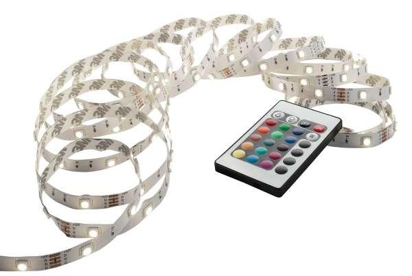 LED-Lichterkette 5 m, Weiß mit Fernbedienung, RGB-Farbwechsler