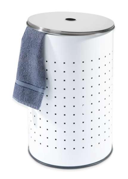 Wäschesammler Wäschebox Wäschetonne BARREL 1, Weiß Edelstahl 37 Liter