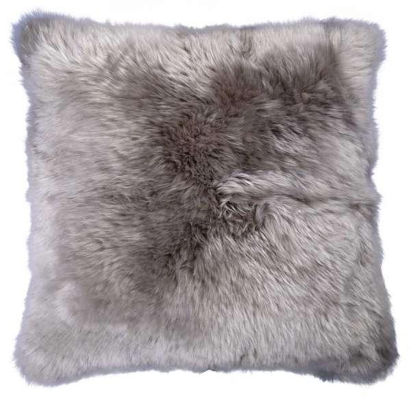 Kissenhülle Kissenbezug, 50x50 cm, Grau, echtes Schaffell