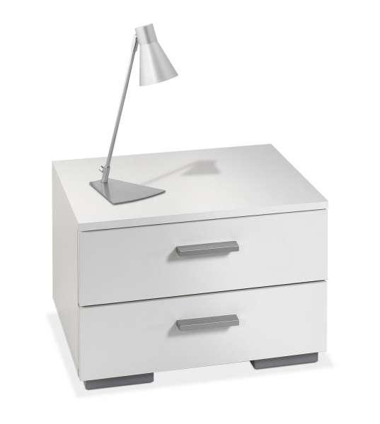 Nachttisch PETRA 8, Silberfarbig, Weiß Matt