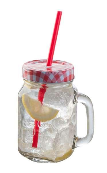 Glas Trinkglas ZARJA 12, Rot mit Deckel & Röhrchen, ca. 480 ml