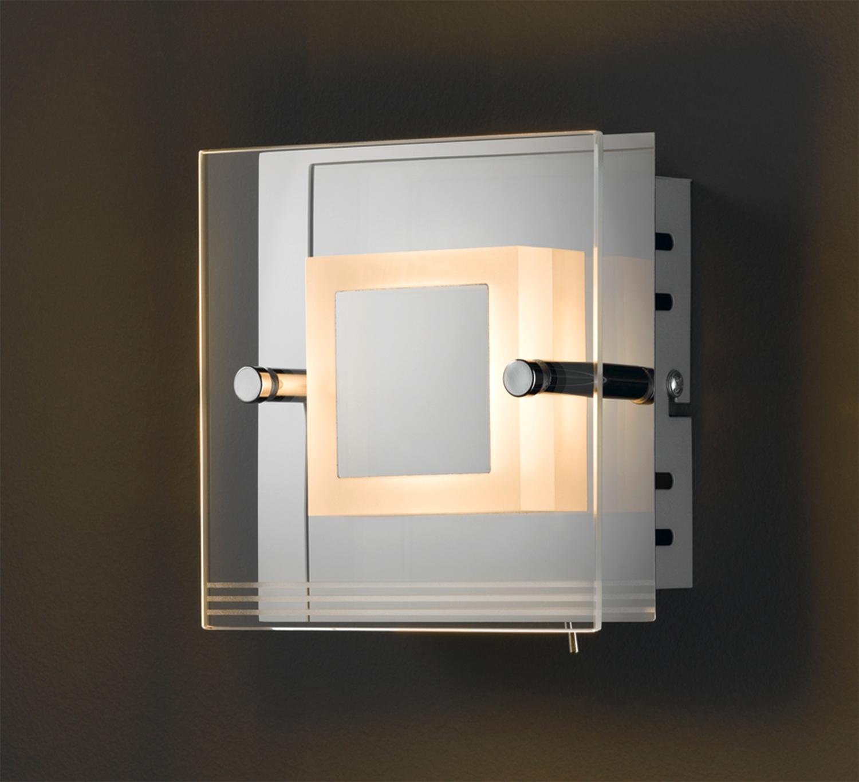 Wandleuchte LIMA, Metall, mit Schalter, inkl. Leuchtmittel, ca. 14x14 cm