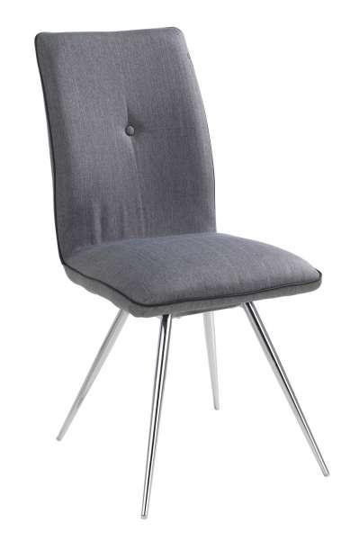 Stuhl LORA, Grau, Webstoff, Gestell Metall Chromfarben