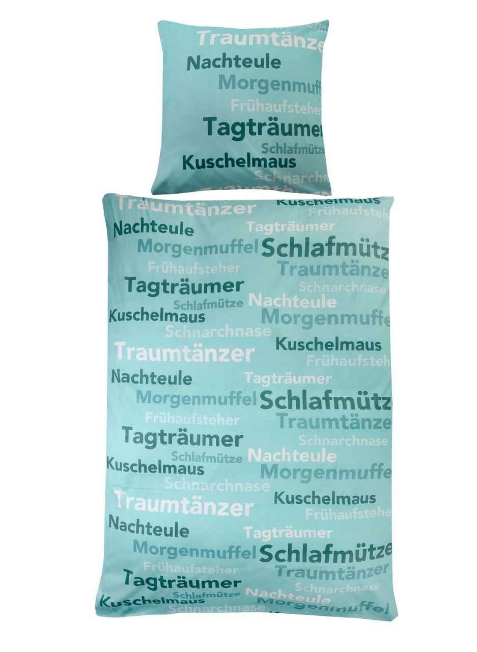 moebel-jack.de Bettwäsche Bettbezug JULIA 1, B 135 x L 200 cm, Petrol mit Schriftzug