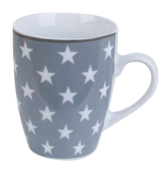 Kaffeetasse Kaffeebecher ILIRIA 11, Porzellan Grau mit Weißen Sternen