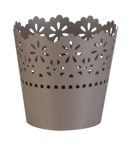 Blumentopf SIENNA 21, Ø 9 x H 9 cm, Grau-Braun, Metall