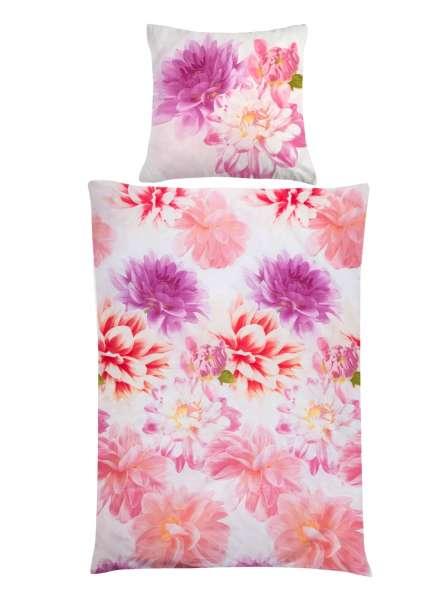 Baumwoll-Bettwäsche JADY, weiß-pink 135x200 cm