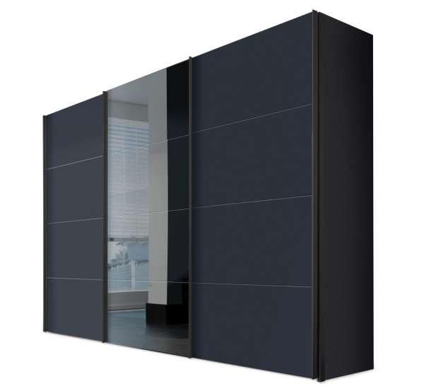 Schwebetürenschrank SYDNEY 12, graphit, mit Spiegel