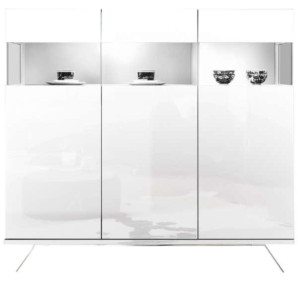 Highboard Weiß B 138 3 Türen mit Glaseinsatz