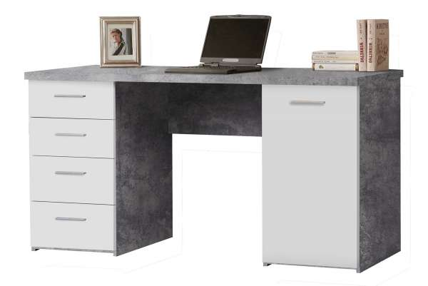 Schreibtisch Weiß - Beton Dekor, 4 Schubladen & 1 Türe 145cm