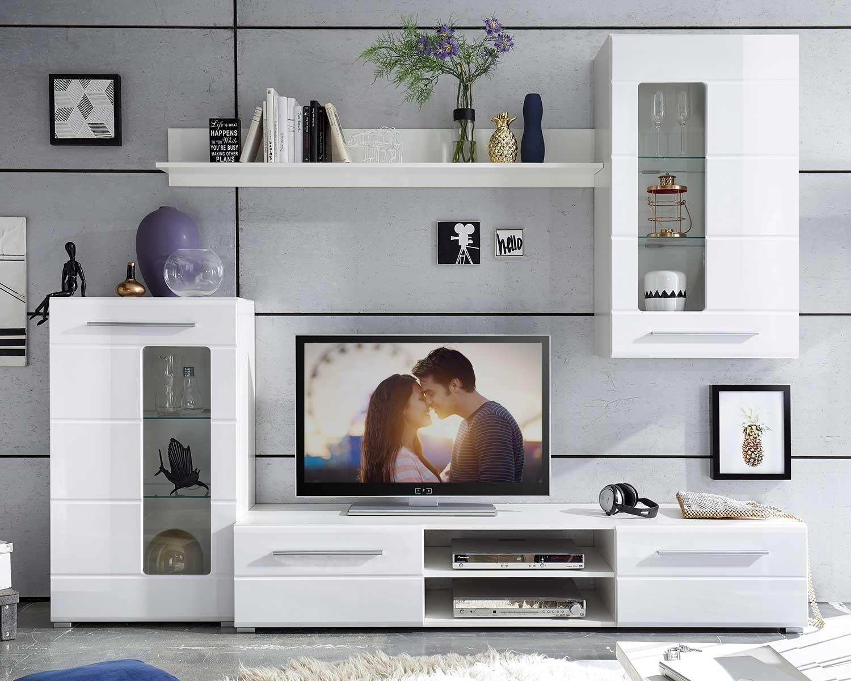 Wohnwand B 3 x H 3 cm, Weiß Hochglanz