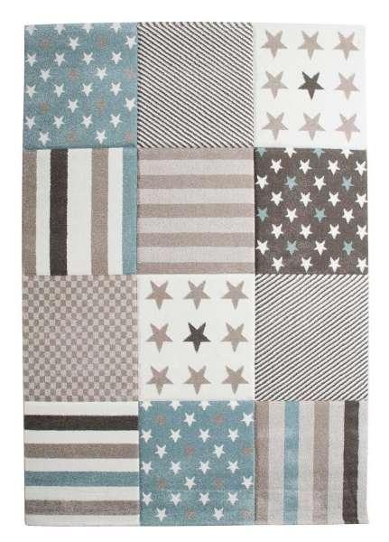 Teppich STARS 3, B 80 x L 150 cm, Braun-Grau, mit Sternen, gestreift