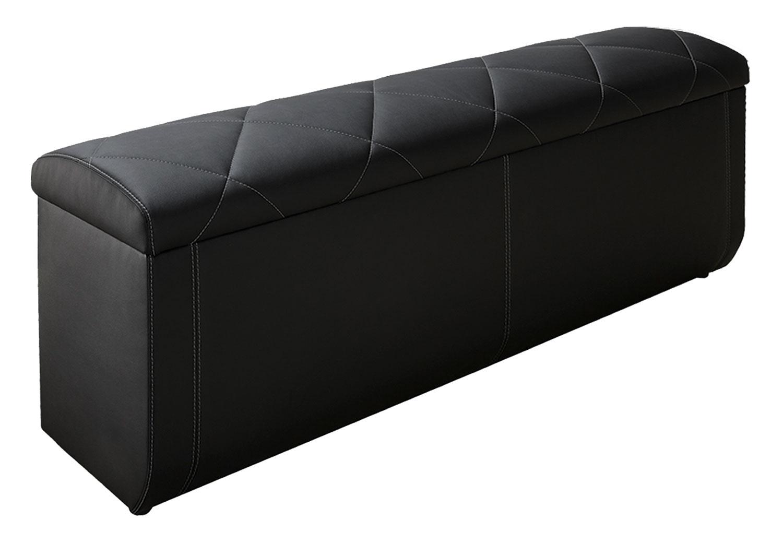 Bettbank aus Kunstleder in Schwarz mit 1 Klappe RUPERT 5 | Möbel Jack
