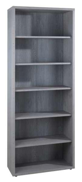 Regal, Bücherregal DELA 10, Dekor, mit 5 Böden, grau, 82x217x36 cm