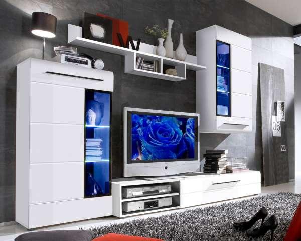 Wohnwannd SUSANNE, B 235 cm, Weiß Hochglanz, inkl. LED-Beleuchtung