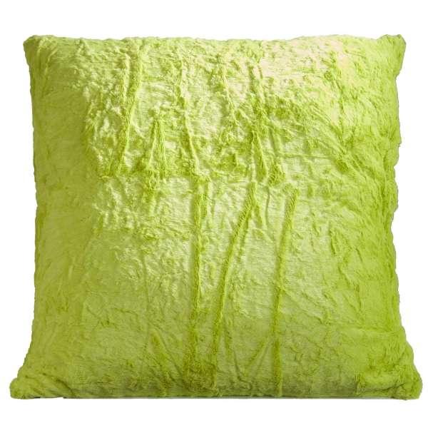 Kissen KUSCHEL 21, B 66 x H 66 cm, Grün, Felloptik