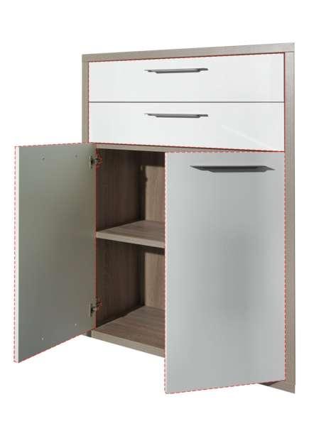 Türen-Schubkasten-Set DELA 5, Hochglanz Weiß, 75x105 cm