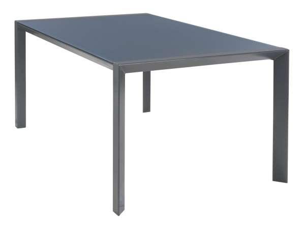 Tisch, Gartentisch LYNN 1, B 160 x T 100 cm, Grau, mit Glasplatte
