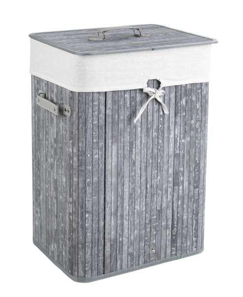 Wäschesammler Wäschebox Wäschetonne LAUNDER, Grau Bambus, mit Stoff