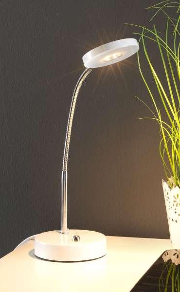 Schreibtischleuchte DENIZ 1, Weiß-Chrom, 30 cm