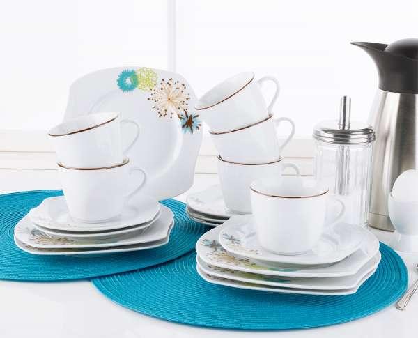 Kaffee-Service MALVE, 18-tlg (6 Personen), Weiß, Porzellan