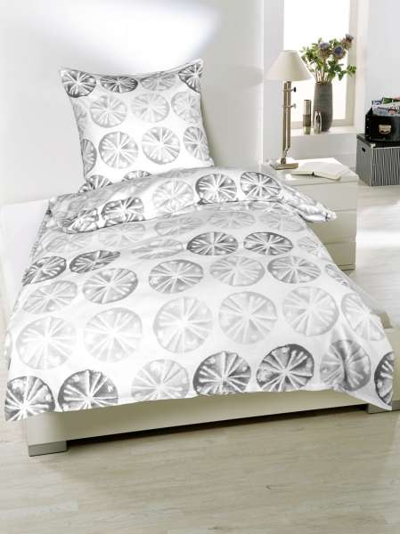 Bettwäsche Aus Baumwolle In Weiß Mit Grauen Kreisen 135 X 200 Cm