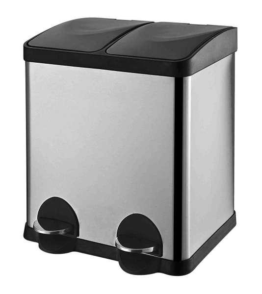 Treteimer, Mülleimer ECKBERT, 30 Liter, Edelstahl, mit Kunststoffeinsatz