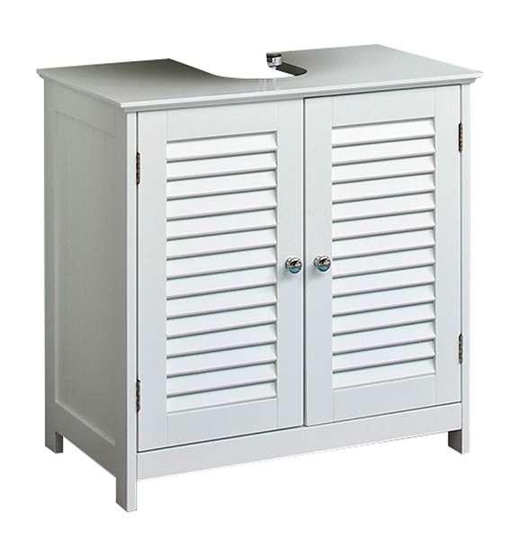 Waschbeckenunterschrank B 60 cm, Weiß matt, mit 2 Türen