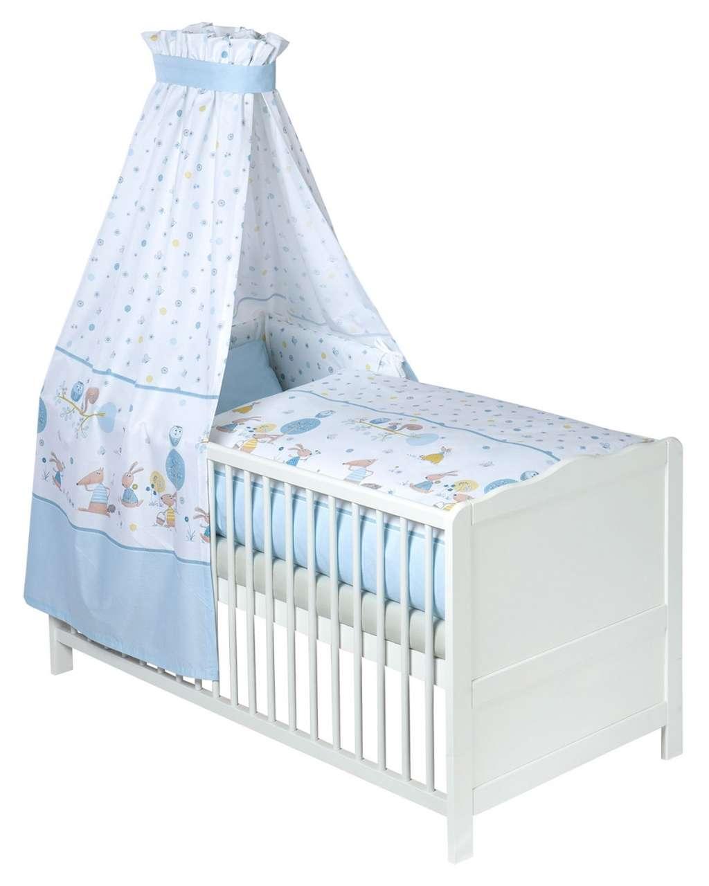 moebel-jack.de Baby-Betten-Set 3-tlg. HAPPY ANIMALS 1, 100x135 cm, Blau, mit Himmel