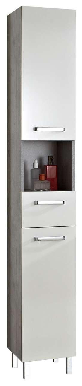 Schränke Bad Hochschrank, Badschrank HADO, Weiß Glanz, 2 Türen, 1 Schubkasten, (B/H/T) 30x196x33 cm