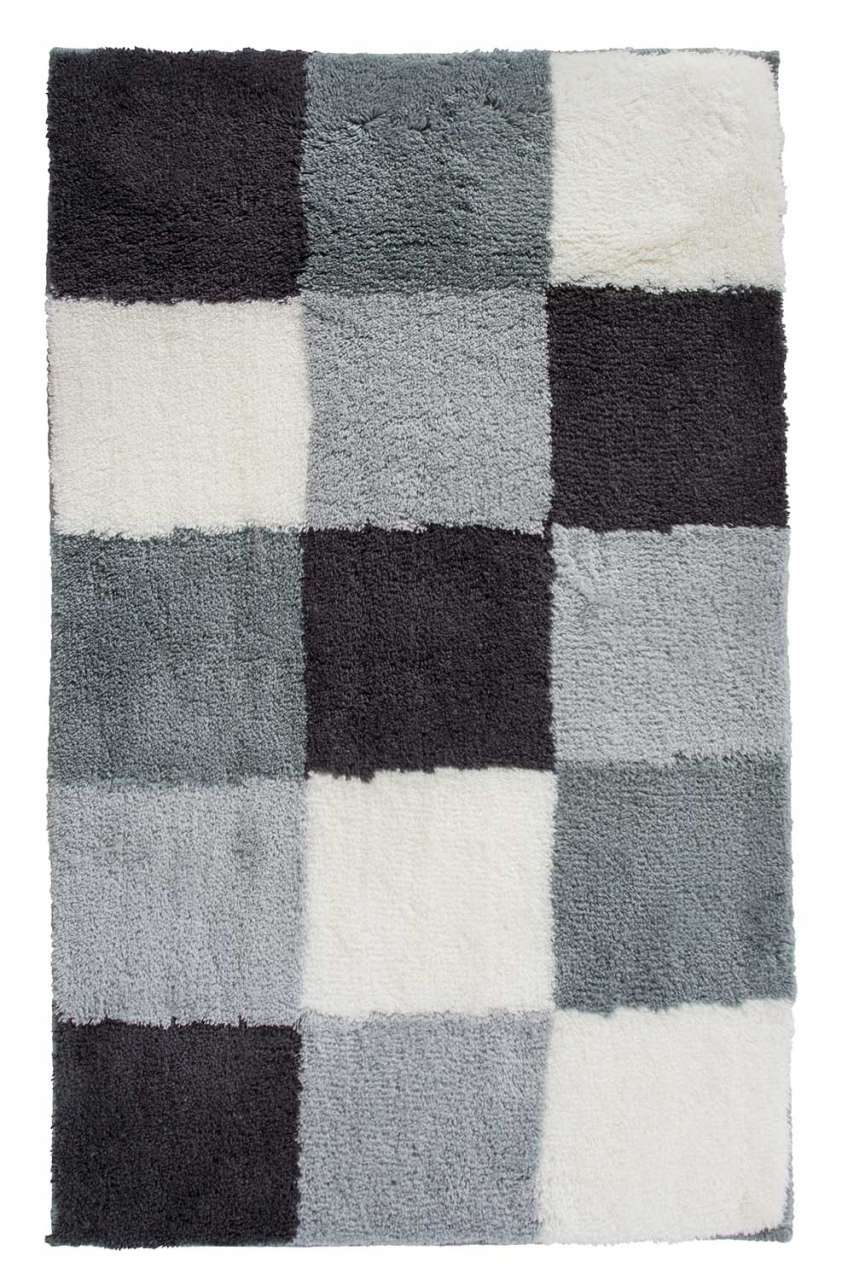 Badezimmerzubehör Badematte Badvorleger TIZIANA 2. B 60 x L 100 cm, Schwarz-Grau-Weiß