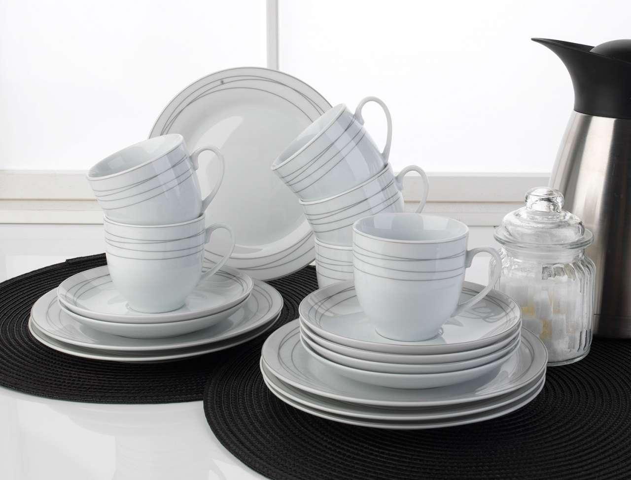 moebel-jack.de Kaffeeservice 18 tlg. PANELLA, Porzellan Weiß, rund, spülmaschinengeeignet