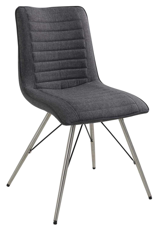 Esszimmerstuhl, Küchenstuhl Stoff grau, Edelstahl | 001888089600000