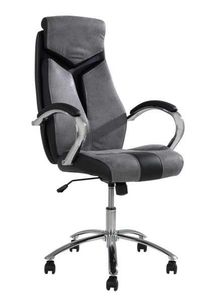 Bürostuhl, Drehstuhl FILBERT, Stoff, Kunstleder, grau-schwarz, höhenverstellbar