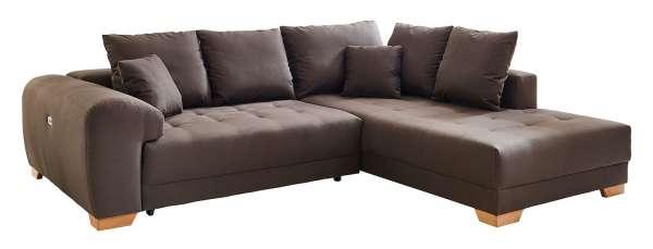 Sofa Couch BREDA, 266x218 cm, Braun Webstoff elektrische Relaxfunktion