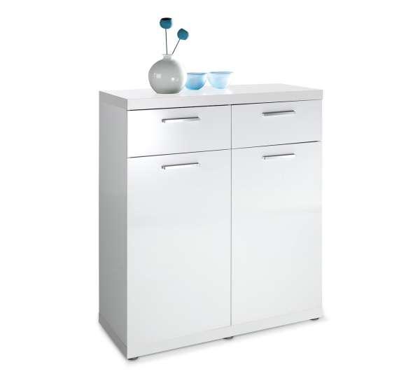 Kommode ALBERTO, weiß hochglanz, 87x107x40 cm
